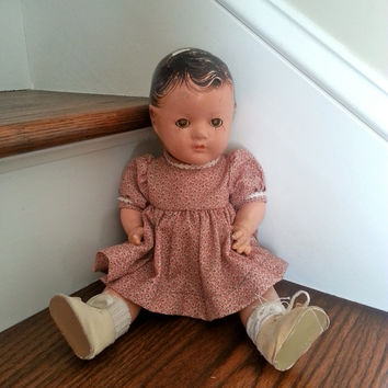 Antique 1930s Madame Alexander composition doll with sleep eyes, full composition