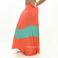 Carolina Sunset Dark Coral & Mint Chevron Maxi Skirt