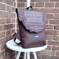SAMPLE SALE Backpack darkchocolate hipster backpack rucksack cycling bag waterproof small mini backpack Zurichtoren geometric simple minimal