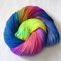 Handpainted Fingering Weight Superwash Merino Nylon Sock Yarn- Carnival 462 yards