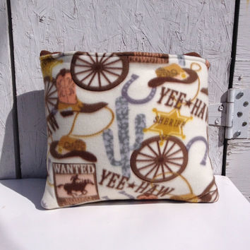 Country Cowboy Fleece quillow, fleece blanket, quilt that folds into a pillow,