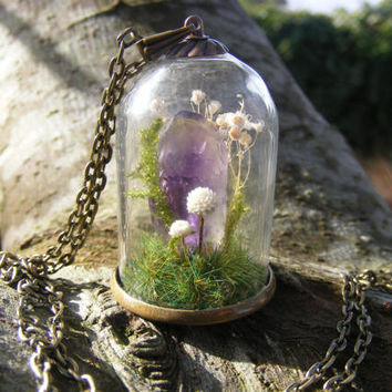 Crystal terrarium necklace, amethyst point, gift for her, moss bottle, healing crystal, gift from Ireland miniature terrarium flower jewelry