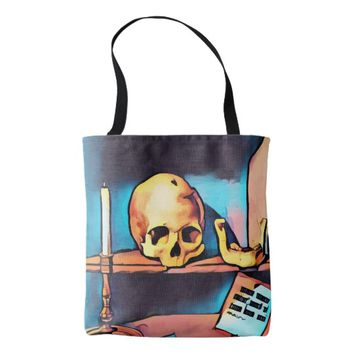 Skull Candlestick Still Life Abstract original Art Tote Bag