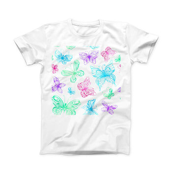 The Vivid Vector Butterflies ink-Fuzed Front Spot Graphic Unisex Soft-Fitted Tee Shirt