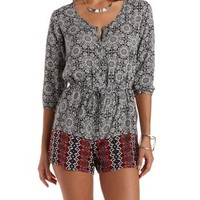 Black Combo Border Print Button-Up Romper by Charlotte Russe