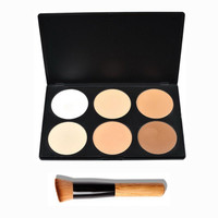 Professional Makeup Face Pressed Powder Foundation 6 Colors Grooming Highlight And Contour Shadow Powder Palette + Make Up Brush