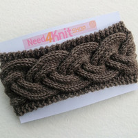 FREE SHIPPING,Hand Knitted Headband in Chocolate Brown,Handmade Headband,Warm Hair Band,Winter Thick Head Wrap,Knit Women Accessory,Woolen