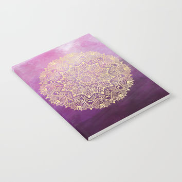 Gold mandala on maroon ink Notebook by Nayers