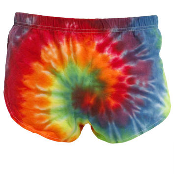 Rainbow Tie Dye Spiral Adult Side Split Shorts