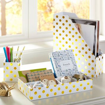 Printed Paper Desk Accessories - Gold Dot