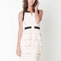 Off-white Tiered/Ruffle Dress - Contrast Sleeveless Beige Ruffle Dress | UsTrendy