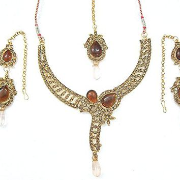 Valentine Gift- Indian Bridal Jewelry Dazzling Golden Stone Necklace Earrings Set: Tarini Jewels: Amazon.ca: Jewelry