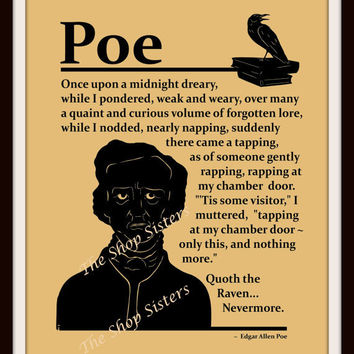 Edgar Allan Poe Raven Poem Silhouette Black Wheat and White  8 x 10 Print Wall Art FREE SHIPPING Best Friend