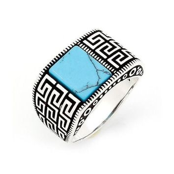 925 Sterling Silver Mens Turquoise Greek Key Meander Ring