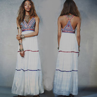 summer maxi dress women long beach holiday Gypsy dress boho style bohemian beading embriodery high quality dresses people brand