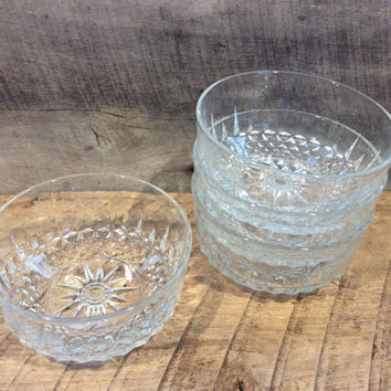 Vintage Glass Bowl Set of 4, Acoroc Glass Bowls, Acoroc France, Salad bowls, Fruit bowl, Desert bowl