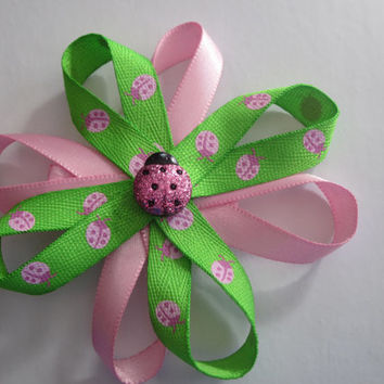 Pink And Green Lady Bug Hairbow Handmade by Sweetpeas Bows & More