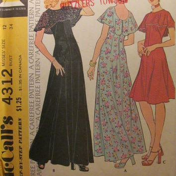 SALE Uncut 1970's McCall's Sewing Pattern, 4312! Size 12 Small/Medium/Women's/Misses/Sleeveless Dress with Drape Collar/Summer/Spring/Formal