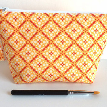 Small Makeup Bag, Orange Makeup Bag, Cosmetic Bag, Michael Miller Fabric, Art Supply Bag