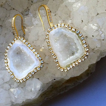 Ivory White Geode Gemstone Slice Earrings Pave Diamond Style Swarovski Crystal Statement Earrings Tabasco Geode Raw Slice - Caroline