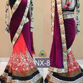 Pink Velvet Designer Bollywood Indian Sarees