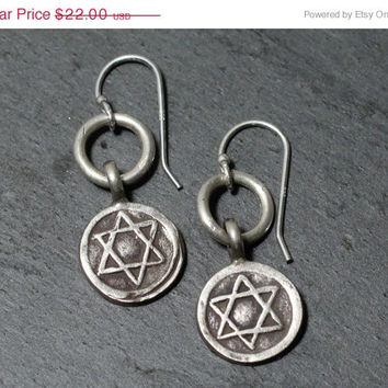 SALE 20%off Silver Hill Tribe Silver Jewish Star of David Earrings for Her Bat Mitzvah