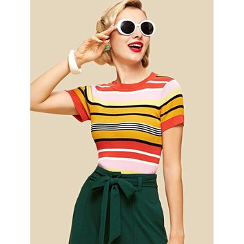 Slim Fit Striped Knit Top