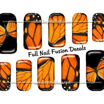 Monarch Butterfly Nail Art Set of 24 Full Nail Fusion Decals by Inspired Nails