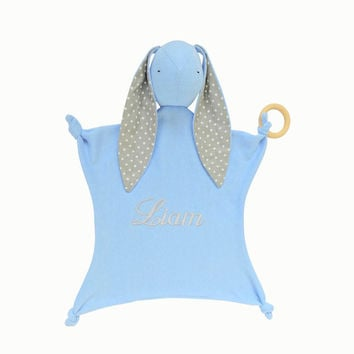 Personalized Security Blanket, blue bunny with grey polka dot ears, Lovey Blanket, Baby shower gift, Baby toy, boy lovey, Stork Party Gift,