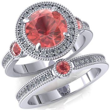 Brachium Round Lab-Created Padparadscha Sapphire Bezel Milgrain Halo 3/4 Eternity Accent Diamond Ring