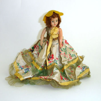 Vintage Duchess Doll, 1948, Hard Plastic Doll, Brown Hair, Sleep Eyes, Silk Floral Dress, Southern Bell, Vintage Doll, Collectible Doll