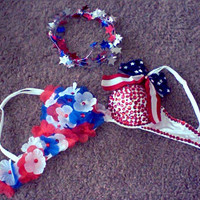 USA Red White & Blue Lady Liberty Americana Rave Bra for EDC, Tommorrowworld, Electric Zoo, Beyond Wonderland, EDM Music Festival