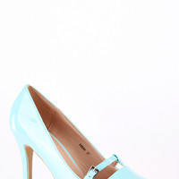 Patent Court Shoe with T-Bar Detail-White -UK 3 - EU 36