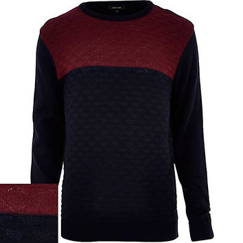 River Island MensNavy textured color block sweater