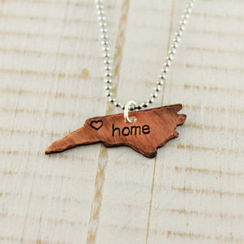 Home state jewelry - North Carolina necklace- NC home- Personalized Gift- Hand stamped copper- Home is where the heart is - Gift for friend