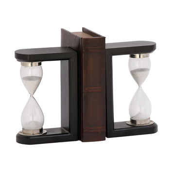 Fabulous Wood Glass Black Timer Bookend Pair
