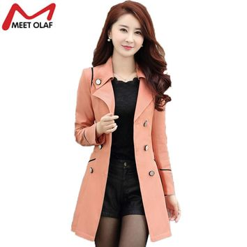 Trench Coat Women 2017 Spring Autumn Female Casual Double-Breasted Long Coats Overcoat Windbreaker Raincoat casaco feminino YL34