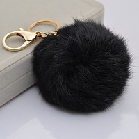18 K Gold Plated Keychain with Plush Cute Genuine Rabbit Fur Key Chain for Car Key Ring or Bags 0025 (black)