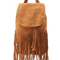 Cognac Faux Suede Fringe Backpack by Charlotte Russe