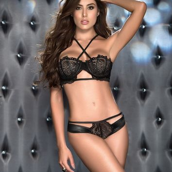 Black Lace Balconette Bra Lingerie Set