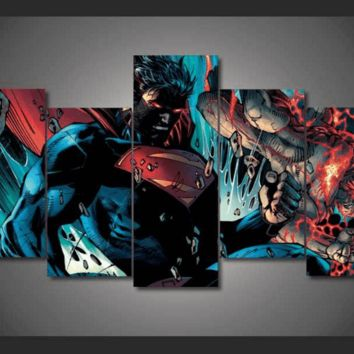 5 Piece Multi Panel Modern Home Decor Framed Superman DC Comic Super Hero Wall Canvas Art | Octo Treasures