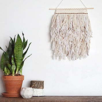Shaggy Neutral Hand Woven Wall Hanging | Weaving, Tapestry, Textile Art