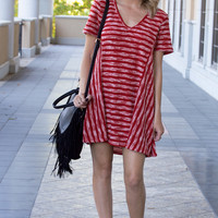 Alana Stripe Textured Red V-neck Tee Dress