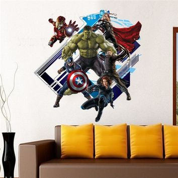 super hero the avengers wall stickers kids room decor home decals cartoon movie fans mural cover art pvc