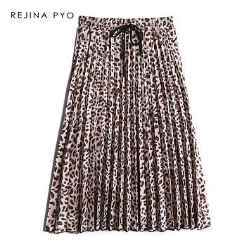 REJINAPYO Women Leopard Printed Pleated Skirt Mid-calf Length Female High Waist Elastic High Quality Skirts Autumn New Arrival