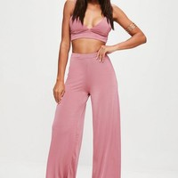 Missguided - Pink Slinky Wide Leg Pants