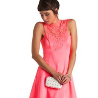 Neon Crochet Lace Mock Neck Skater Dress - Knockout Pink
