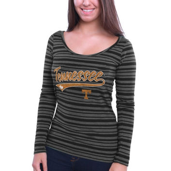 Tennessee Vols adidas Women's My Glow Striped Triblend Long Sleeve T-Shirt – Black