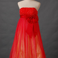 A-line Strapless Sleeveless Tea-length Satin Tulle Prom Dresses With Bowknot Sashes Beading Free Shipping