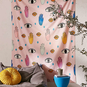 Hello Sayang For DENY Eyes Hands Lips Dots Tapestry - Urban Outfitters
